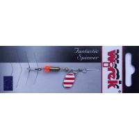 WR/4013 Rotativa Wirek Round/1.9g/argintie cu dungi rosii
